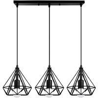3 Cabezas Luz Colgante forma Diamante Cage Palo Lampara Grupo de 3 Vías de Techo Jaula de Hierro Ø20cm Creativo Metal Para Cocina Sala Comedor Bar(negro)