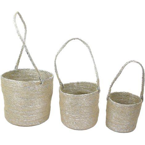 3 Caches pot à suspendre Panier - Fibres argentées - Argent