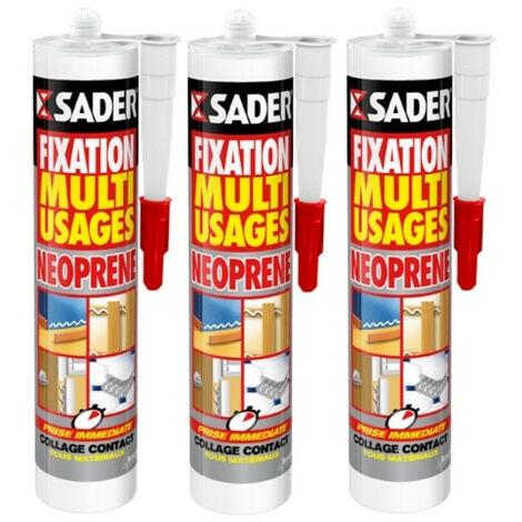 3 cartouches mastic fixation multi-usages néoprène 310ml SADER