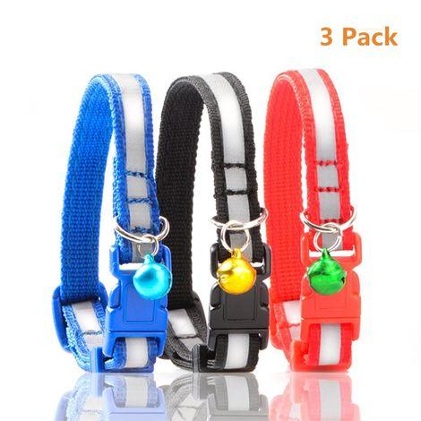 3 colliers de chat réfléchissants avec cloches, rouge, noir et bleu