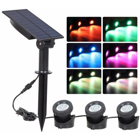 3 COLORFUL led Light Solar Garden House Spot Lights