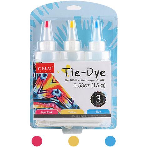 3 Couleurs Bricolage Tie Dye Kits Tissu Dye Set Tissu Peinture 120Ml / Bouteille Avec Elastiques Gants Tablier Sac Auto-Obturant Pour Adultes Enfants, Rose Rouge + Jaune + Bleu