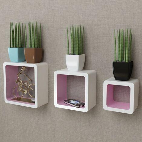 3 cubos estantes exhibidores flotantes de tablero DM blanco-rosa HAXD09104