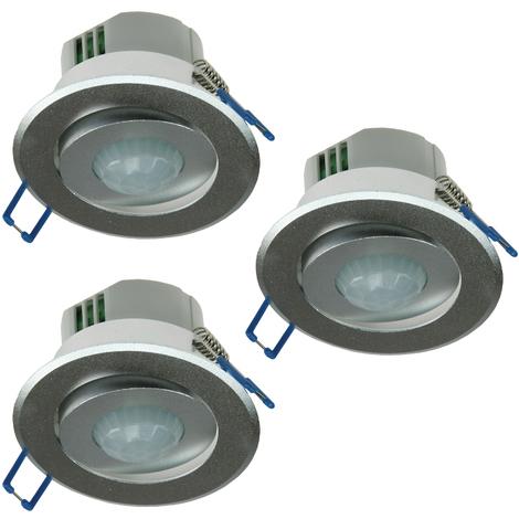 3 Decken Einbau Bewegungsmelder 360° Alu LED geeignet 6m schwenkbar silber