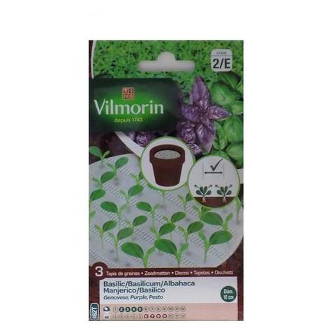3 discos biodegradables Vilmorin semillas de ALBAHACA (cultivo fácil) 10 cm