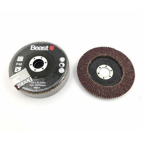 3 disques lamelles plat D. 125 x Al. 22,23 mm Gr 40 corindon pour Bois, métal - 738534 - Beast