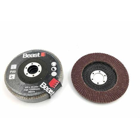 3 disques lamelles plat D. 125 x Al. 22,23 mm Gr 80 corindon pour Bois, métal - 738538 - Beast