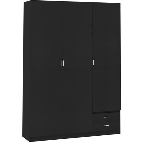 3-Door Wardrobe Black 120x50x180 cm Chipboard - Black