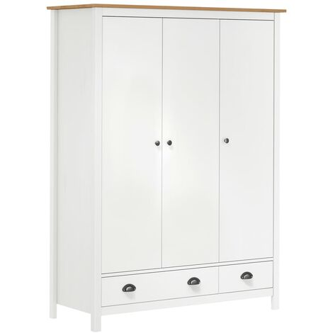 3-Door Wardrobe Hill Range White 127x50x170 cm Solid Pine Wood