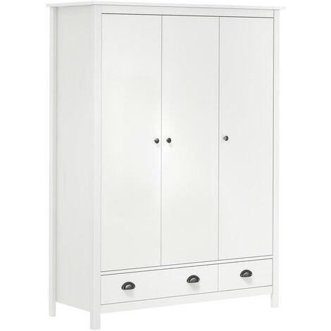 3-Door Wardrobe Hill Range White 127x50x170 cm Solid Pine Wood - White