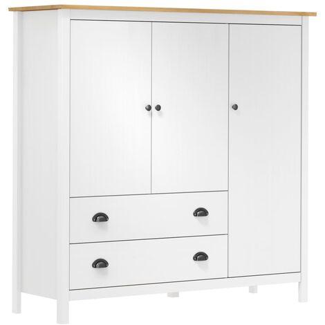 3-Door Wardrobe Hill Range White 142x45x137 cm Solid Pine Wood - White