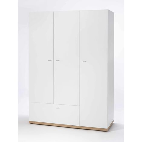 3-Door White Wardrobe Cabinet Armoire And Wooden Drawer LUDO for Bedroom