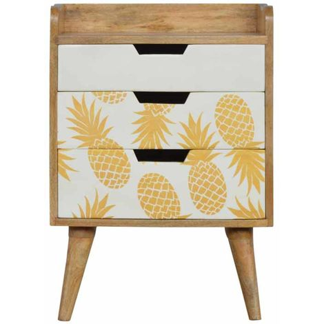 3 Drawer Bedside with Pineapple Screen Printed Drawer Fronts