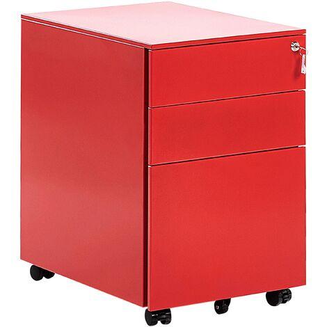 3 Drawer Metal Filing Cabinet Red POMA
