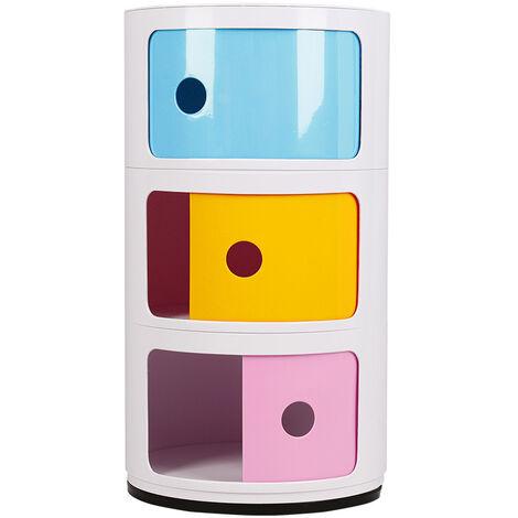 3 Drawer Round Bathroom Cabinet Corner Cupboard Storage Unit Bedside End Table