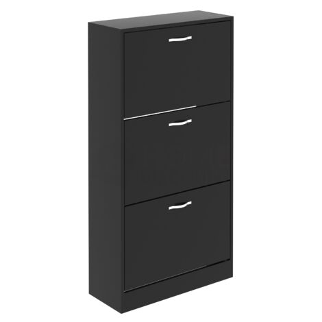 3 Drawer Shoe Cabinet, Black