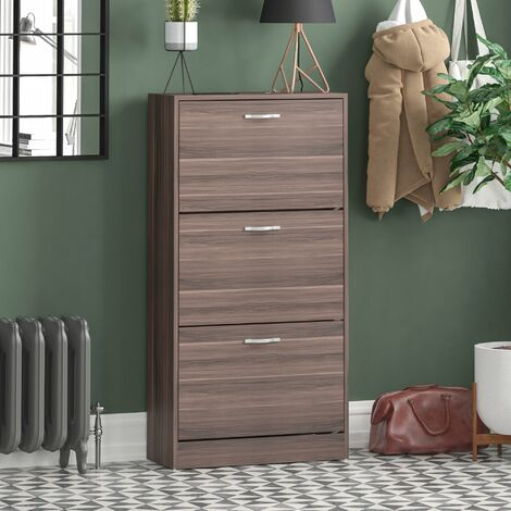 3 Drawer Shoe Cabinet, Walnut
