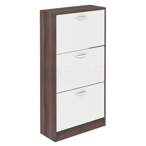 3 Drawer Shoe Cabinet, Walnut & White