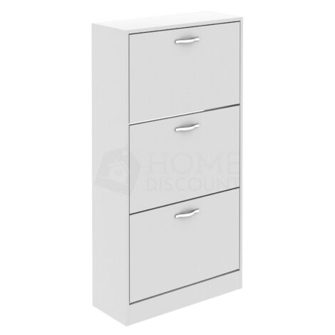 3 Drawer Shoe Cabinet, White