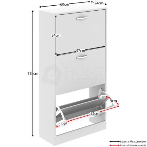 3 Drawer Shoe Cabinet, White
