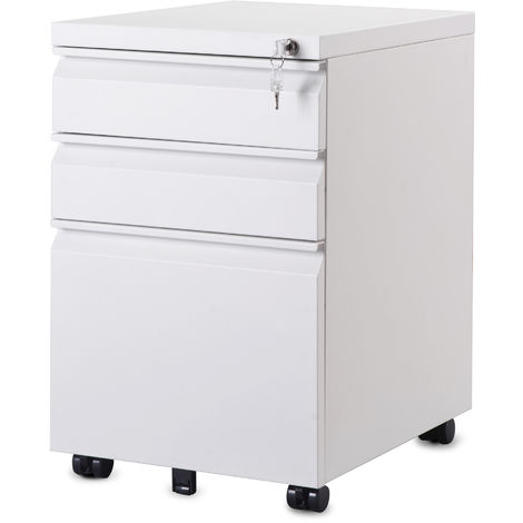 3 Drawer Steel Filing Cabinet with Lock and Handles Matt White
