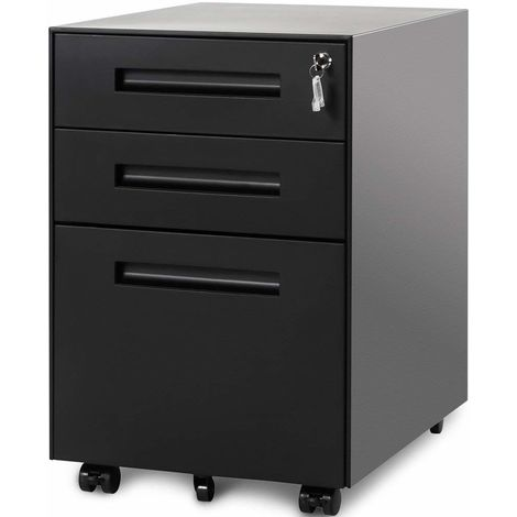 3 Drawer Steel Metal Filing Cabinet with Embedded Handle and Lock (Black)