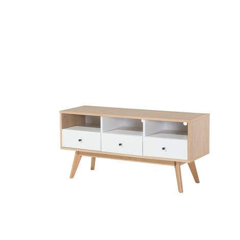 3-Drawer TV Stand Light Wood with White TUCSON