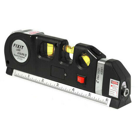 3 En 1 Laser Level Cross Regle Ligne Avec Ruban A Mesurer Plumb / Niveau / 45 Degres
