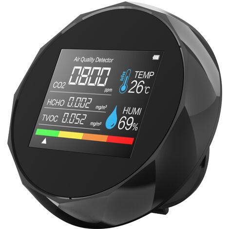 3 en 1 Medidor de carbono Dioxido de temperatura / detector de CO2 Calidad del Aire Humedad monitor digital Analizador de aire Tester Kit de Precision para Home Office datos en tiempo real, Negro, 3 en 1