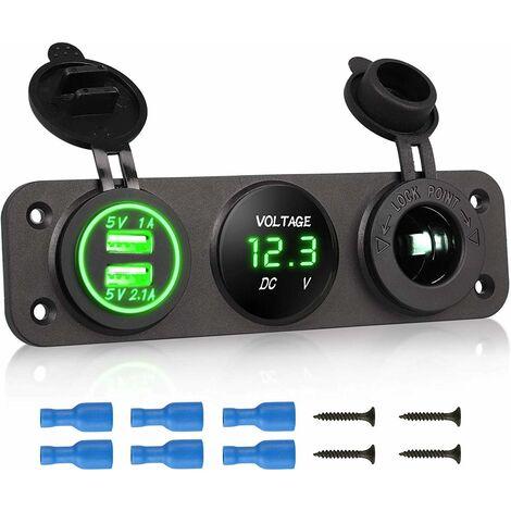 3 en 1 panneau de prise de chargeur, 12V double prise de voiture USB Prise de chargeur prise de courant et LED voltmètre numérique et adaptateur allume-cigare Splitter Adaptateur - bleu - blau