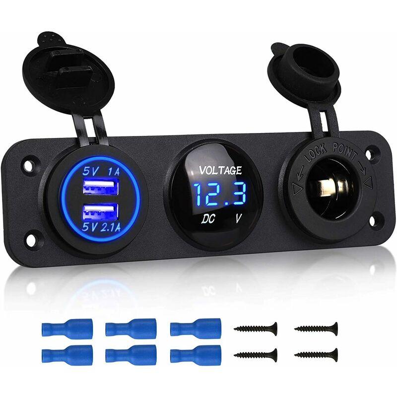 Langray - 3 en 1 panneau de prise de chargeur, 12V double prise de voiture USB Prise de chargeur prise de courant et LED voltmètre numérique et