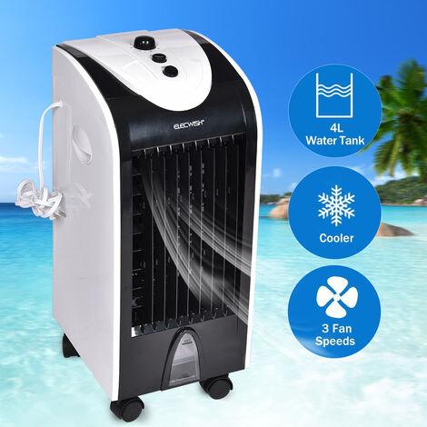 3 en 1 Rafraîchisseurs d'air par Evaporation Ventilateur Humidificateur Réservoir d'eau 4 litres 75W Système d'Oscillation