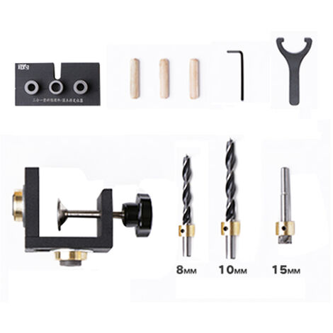 3-en-1 Tratamiento de la madera ponche Localizador Conjunto de bolsillo agujero plantilla enclavijar Posicionamiento perforadora Carpinteria Kit de herramientas de bricolaje, tipo 3