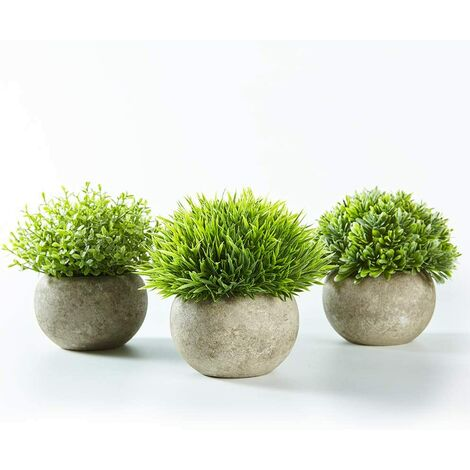 3 ensembles de plantes artificielles d'intérieur (pelouse verte en pot gris), petites plantes en plastique décoratives synthétiques (adaptées à la décoration de la maison, de la cuisine et de la décoration extérieure)