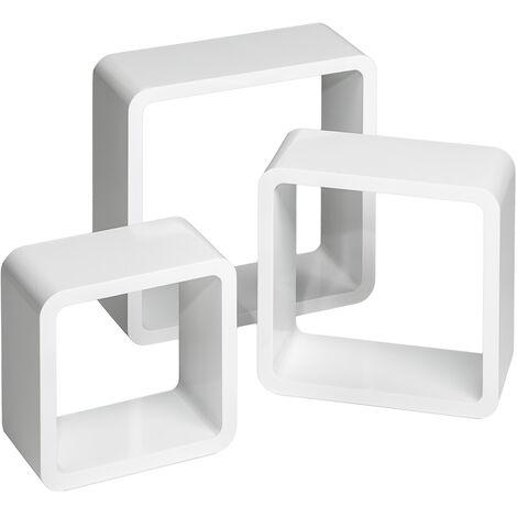 3 estanterías para pared Lena - estantería flotante para libros, estante de madera lacada con fijación no visible, estantería en forma de cubo para habitación