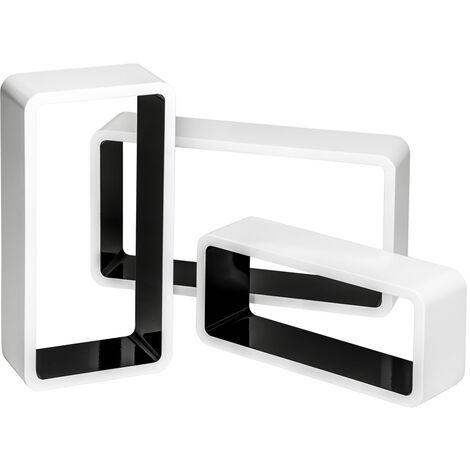 3 estanterías para pared Leonie - estantería flotante para libros, estante de madera lacada con fijación no visible, estantería rectangular para CDs