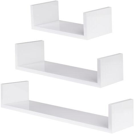 3 estanterías para pared Luisa - estantería flotante para libros, estante de madera lacada con fijación no visible, estantería colgante en forma de U