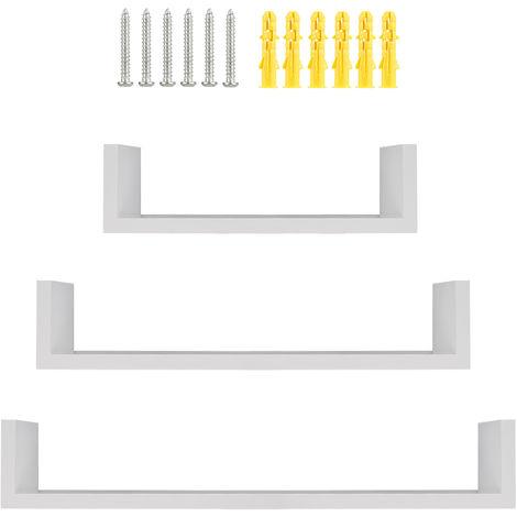 3 Estantes de pared de diseño con borde 3 tamaños diferentes en madera blanco