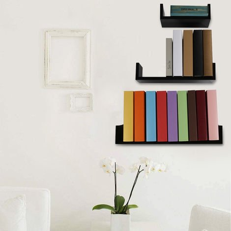 3 Estantes de pared de diseño con borde 3 tamaños diferentes en madera negra