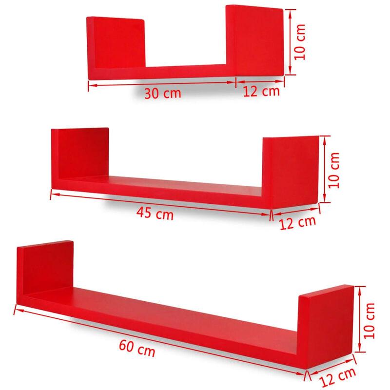 Sistema DE FIJACION Invisible Madera Inalsa Set DE 3 ESTANTES Cubos Color WENGUE Reddish Brown 25 x 25 x 9 cm 3