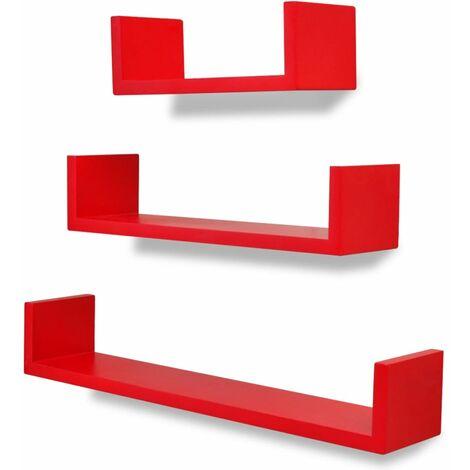 3 estantes exhibidores flotantes de pared en forma U tablero DM rojo