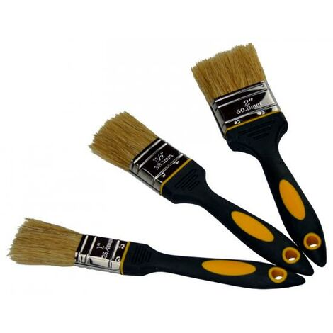3 Flachpinsel Malerpinsel Set helle Borsten 25mm bis 50mm Farb Pinsel