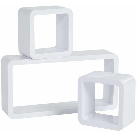 3 floating shelves high-gloss lacquered Lotta - wall shelf, wall mounted shelf, hanging shelf
