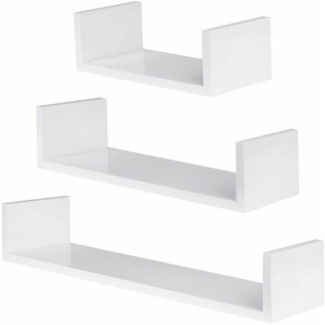 3 floating shelves Luisa - wall shelf, wall mounted shelf, hanging shelf - white