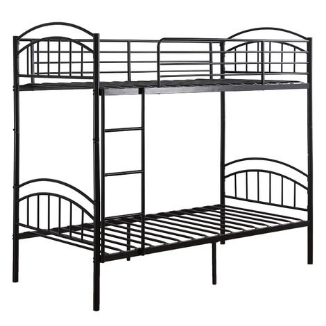"""main image of """"3 ft double bed detachable metal bunk children's bed with ladder bedroom apartment furniture Black - Black"""""""