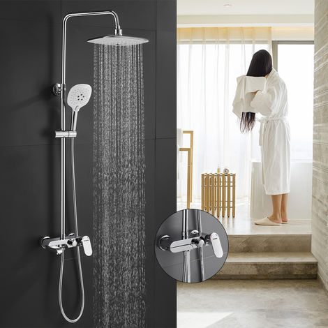3-Function Shower System with Faucet, WOOHSE Shower Set, Shower Column with Shower Shelf, Rain Shower 3 Jet Modes, Hand Shower, Shower Faucet, Shower Set, Bathtub, Adjustable Stainless Steel Shower Bar for Bathroom