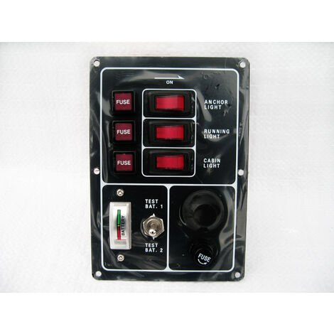 """main image of """"3 Gang Switch Panel 12V with Horn & Battery Test (Boat Marine)"""""""