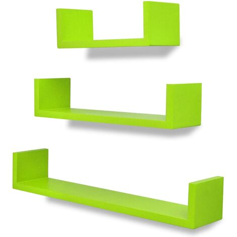 3 Green MDF U-shaped Floating Wall Display Shelves Book/DVD Storage