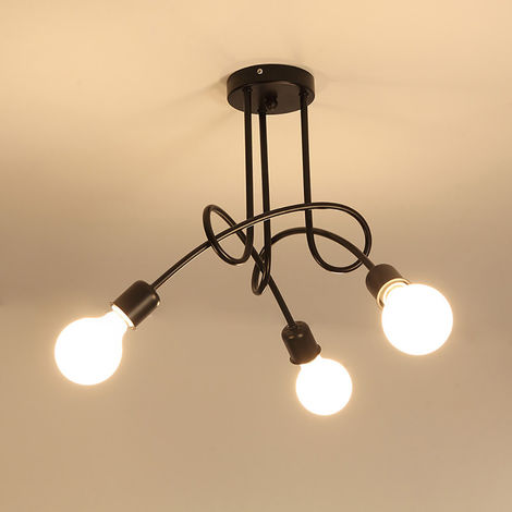 3 Head Vintage Ceiling Light Industrial Chandelier Lamp Retro Pendant Light with E27 Lamp Socket for Living Room Dining Room Bar Hotel Restaurant,black