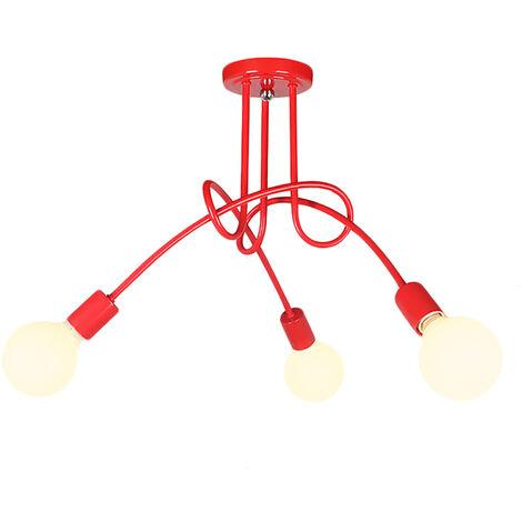 3 Head Vintage Ceiling Light Industrial Chandelier Lamp Retro Pendant Light with E27 Lamp Socket for Living Room Dining Room Bar Hotel Restaurant,red